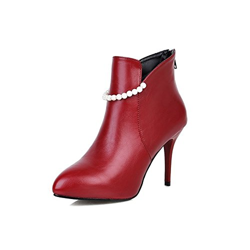 Red US8   EU39   UK6   CN39 Red US8   EU39   UK6   CN39 HSXZ Women's shoes Leatherette Winter Spring Comfort Bootie Boots Stiletto Heel Pointed Toe Booties Ankle Boots Imitation Pearl for Wedding