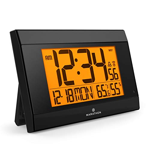 Marathon Atomic Wall Clock with Auto Back Light Feature, Calendar, Temperature, Humidity and Big 2 ½ Inch Digits. Large Capacity C Cell Batteries Included. Color-Black. SKU-CL030052BK
