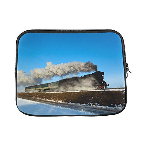 "Design Custom Smoking Train Age Vintage Hot Gas Transportation Railroad Track Sleeve Soft Laptop Case Bag Pouch Skin for MacBook Air 11""(2 Sides)"