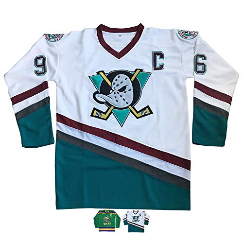 Micjersey Charlie Conway #96 Mighty Ducks Ice Hockey Jersey,Stitched Letters and Numbers S-XXXL (White, - Jersey Letters Hockey