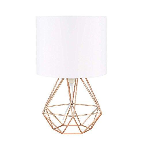 Diamond Basket - Modern Industrial Desk Lamp, Jeffrien Vintage Metal Diamond Basket Cage Table Lamp Shade Lighting Fixture for Office Home Living Dining Room Bedroom Coffee Shop