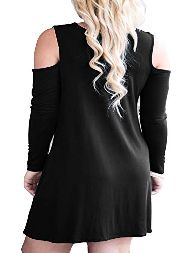 3cf85b648a93 QIXING Women's Cold Shoulder Long Sleeve Plus Size Dress Casual T-Shirt  Swing Dresses with Pockets