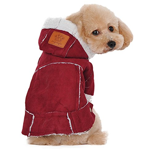 Disney Suede Costumes (DEESEE(TM) Suede Fabric Dog Pet Clothes Hoodie Cowboy Coat Sweater Outwear Jacket (M, Red))