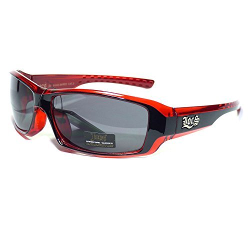 #LC27-S1 LOCS Hardcore Shades ® Red Wrap Men's Sport Sunglasses (Sunglasses Friday)