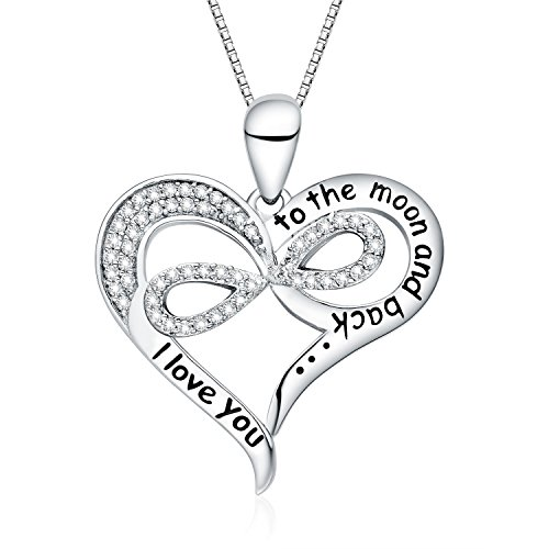 """FANCYCD """"I Love You to the Moon and Back"""" Love Heart Necklace, 18"""", Jewelry for Women & Girls, Special Gifts for Girlfriend, Wife, Sister, Aunt, Grandma, Mom..."""