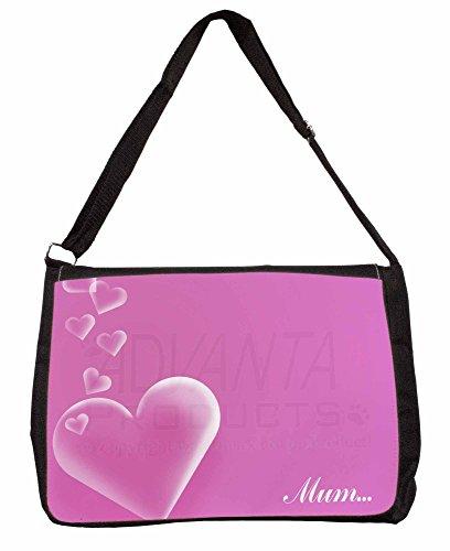 Pink Hearts Sentiment for Mum Large 16 Black School Laptop Shoulder Bag