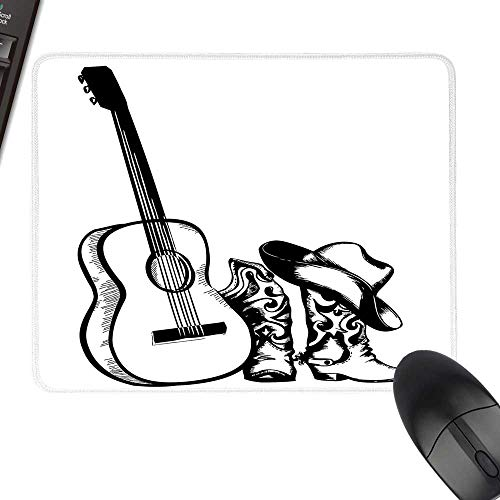 Western Thicken Mouse Pad Country Music Theme with Cowboy Shoes Hat and Guitar Instrument Sketch Art with Stitched Edges 23.6