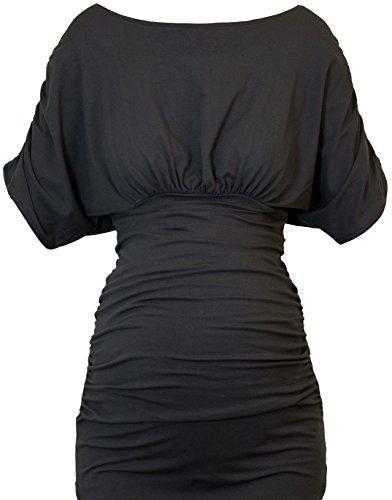 Picchu Maternidad Superior, Hip longitud ajustable estilo con Side ruching, disponible en 3colores) negro