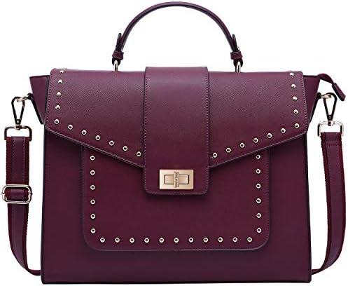 Briefcase Satchel Shoulder Detachable Burgundy product image