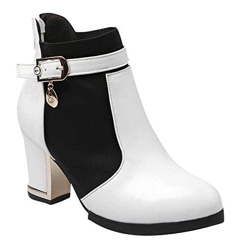 Carol Shoes Women's Fashion Modern Buckles High Heel Short Martin Boots White