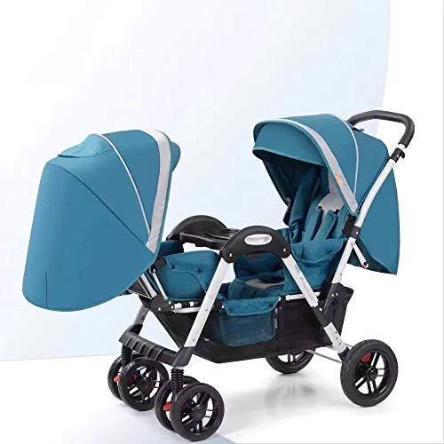 Double Stroller, Twin Tandem Baby Stroller with Adjustable Backrest, Footrest, 5 Points Safety Belts, Foldable Design for Easy Transportation (Color : Blue)