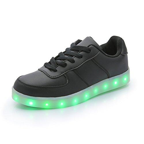 DoGeek Unisex/Uomo/Donna Scarpe LED Luminosi Sneakers Scarpe con Le Luci Accendono Scarpe Uomo/Donna Sportive Nero1