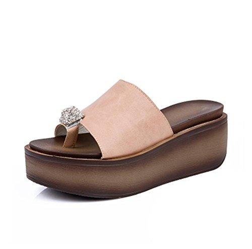 pengweiPantoufles femme sandales d'¨¦t¨¦ chaussures de chaussures loquat ¨¦pais 4 vNMC1