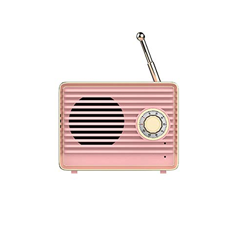 Wireless Retro Speaker, Dosmix Portable Bluetooth Vintage Speaker with Built-in Mic,USB, 8-9 Hours Playtime for Kitchen Bedrooms Desk Shelf Party Travel Android iOS Speaker, Coral Pink
