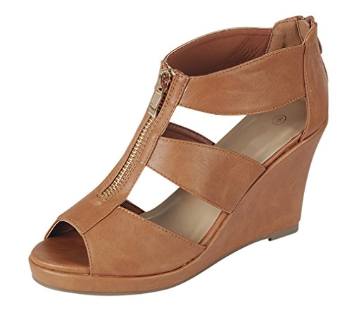 Cambridge Utvalda Womens Peep Toe Bur Utklipp Dragkedja Plattform Wedge Sandal Tan