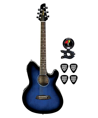 (Ibanez TCY10ETBS Talman 6 String Acoustic Electric Guitar Package in Transparent Blue Sunburst With Guitars Clip On Tuner and Instrument Cable Electric Guitar Bundle)