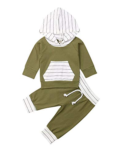 MA&BABY Newborn Baby Girls Hand-Painting Heart Tops Hoodies Pants 2Pcs Outfits Clothes Set (0-6 Months, E-Green Striped)