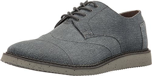 TOMS Men's Brogue Lace-Up Slate Blue Coated Twill Shoe
