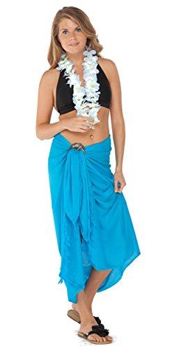 World Sarongs Turquoise Femmes Pour De 1 Bain Unicolore Sarong maillot Cache TzvPwq6