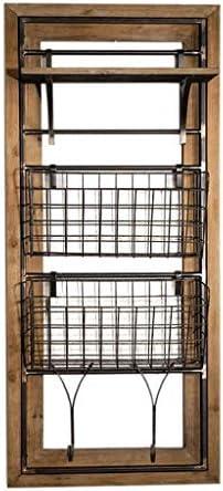BZM-ZM ウォールハンギングウォールシェルフキューブ棚フレーム下見板張りストレージスタンドハンギングメタルシェルフラック、ヨーロッパのレトロLOFTウォールマウント/本棚/Mailやキッチン/バー/リビングルームのためのマガジンラック