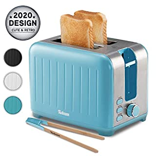 Wide Slot Toaster 2 Slice - 3 in 1 Retro Toaster, Matte Teal and Stainless Steel - Small Toaster with Free Bamboo Tongs Clips and Crumb Tray - 7 Toasting Settings, 850W Toasters - Vintage Toster