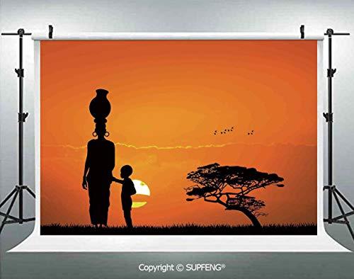 (Photo Backdrop Child and Mother at Sunset Walking in Savannah Desert Dawn Kenya Nature Image 3D Backdrops for Interior Decoration Photo Studio Props )