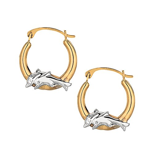 JewelStop 10K Yellow White Gold Shiny Round Hoop Earrings With Dolphins (Dolphins Round Earrings)