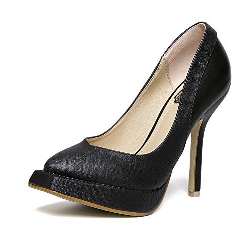 fereshte Women's Stylish Patent Leather Platform Stable Stiletto High Heels Square-Toe Pumps Black