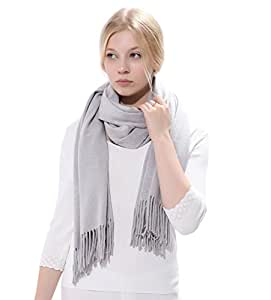 Anboor Cashmere Feel Winter Thick Blanket Scarf Tassel Large Warm Shawl Gray