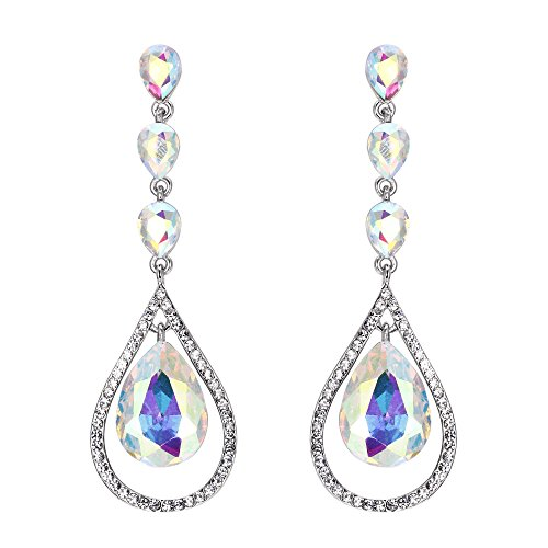EVER FAITH Crystal Bridal Hollow-out Teardrop Pierced Dangle Earrings Iridescent Clear AB Silver-Tone (Pierced Post Dangle)
