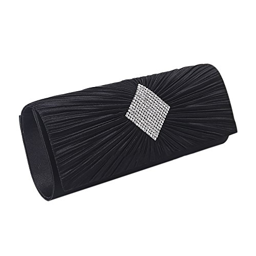 - QZUnique Women's Luxury Rhinestone Satin Pleated Evening Wedding Party Clutch Purse Wallet Handbag Black