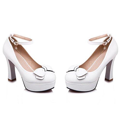 TAOFFEN Women's Trendy High Heels Pumps Shoes White-51 edkoYm