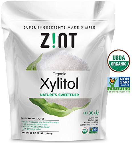 Zint Organic Xylitol Sweetener (5 lbs): USDA Certified Natural Sugar Free Substitute, Non GMO, Low Glycemic Index, Measures & Tastes Like Sugar, 80 - Xylitol Granules