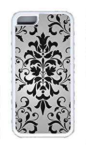 Black and White Color Damask Design DIY Custom Rubber(TPU) white Case for Masterpiece Limited Design iphone 5C by Cases & Mousepads by ruishername