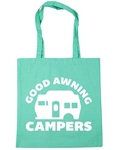 Hippowarehouse Buona Tenda Camper Borsa Shopping Borsa Da Spiaggia Palestra 42cm X38cm, 10 Litri - Cotone, Verde Menta, 100% Cotone 100% Cotone, Donna, Taglia Unica