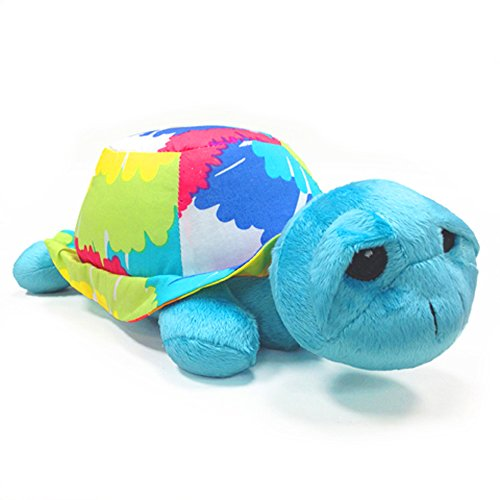 One Grace Place Terrific Tie Dye Stuffed Toy Turtle, Aqua Blue, Royal Blue, Purple, Yellow, Green, Orange, Pink, Red and White