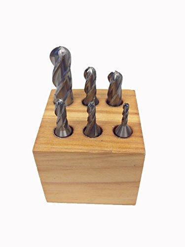 (HHIP 8001-0007 6 Piece High Speed Steel M2 Ball Nose End Mill Set, 4-Flute, 1/8