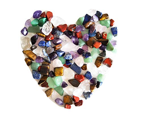 Mixed Natural Crystal 7 Chakra Stones, One Bag, About 100 Pieces, Weights about 160 Grams in Total, Small Size ()