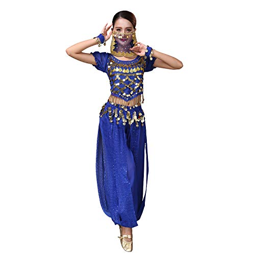 Maylong Womens Harem Pants Belly Dancing Outfit Halloween Costume Hip Scarf DW71 (Royal Blue)