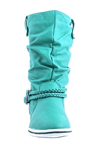 Elara - Botas plisadas Mujer Azul - azul