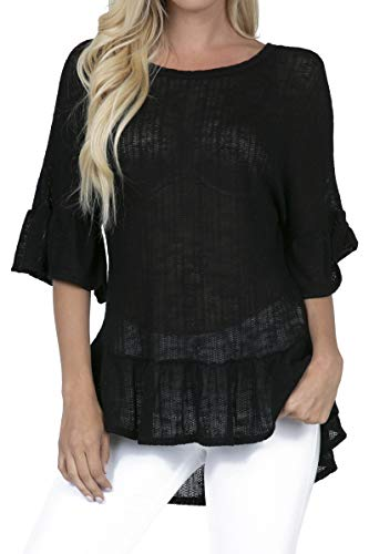 - P1835 Women's Scoop Neck Ruffle Sleeve Tunic High Low Peplum Blouse Tops Black S