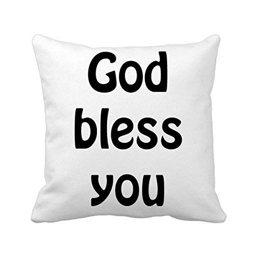 MurielJerome God Bless You Christian Quotes Square Throw Pillowcase Cushion Cover Home Decor Cushion Cover Home Sofa Decor Gift 18 x 18 inches.