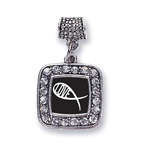 Inspired Silver - Christian Fish Love Memory Charm for Women - Silver Square Charm for Bracelet with Cubic Zirconia Jewelry