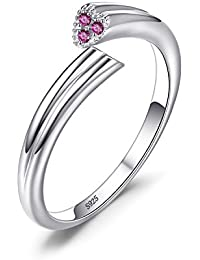 Women's 925 Sterling Silver 2 Heart Love Created Pink Sapphire Wrap Stackable Ring