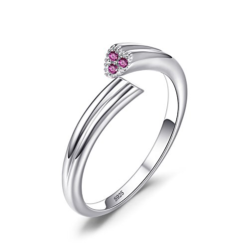 JewelryPalace Women's 925 Sterling Silver 2 Heart Love Created Pink Sapphire Wrap Stackable Ring Size 7