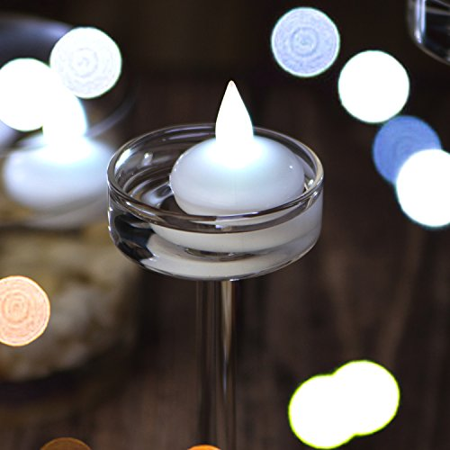IMAGE Flickering Flameless Floating LED Candles 12PCS Smokeless Waterproof Floating LED Tealights Candles Wedding Party Spa Home Indoor Outdoor Decor-Cool White by IMAGE (Image #3)
