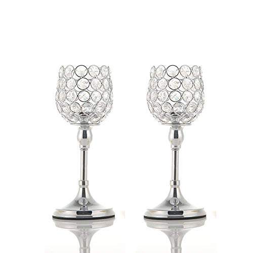 (VINCIGANT Mothers Day Crystal Candlesticks Holders Set of 2 for Anniversary Home Decor Thanksgiving Gifts,Wedding Coffee Table Decorative Centerpieces,10 Inches)