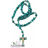 Catholic Praying Rosary Jesus Crucifix Jerusalem Green Stone Beads 10.6