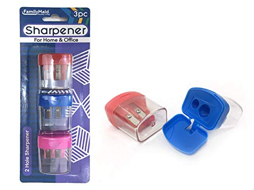 Sharpeners 3 pcs 1.5 x 1.75 inches 3Asst, Case of 144 by DollarItemDirect