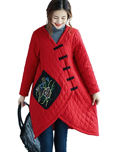 - Minibee Women's Winter Jacket Hi Low Hem Frog Buttons Embroidered Long Quilted Padded Coat Red 2XL